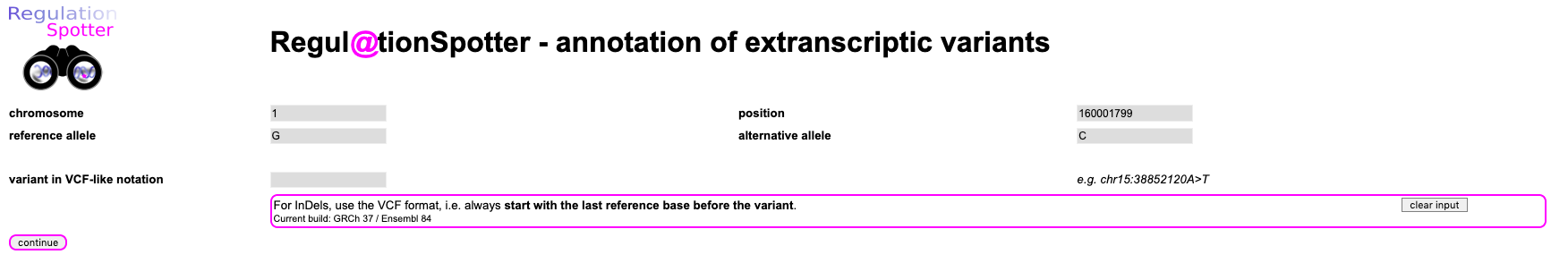 Screenshot of the input for querying a single variant