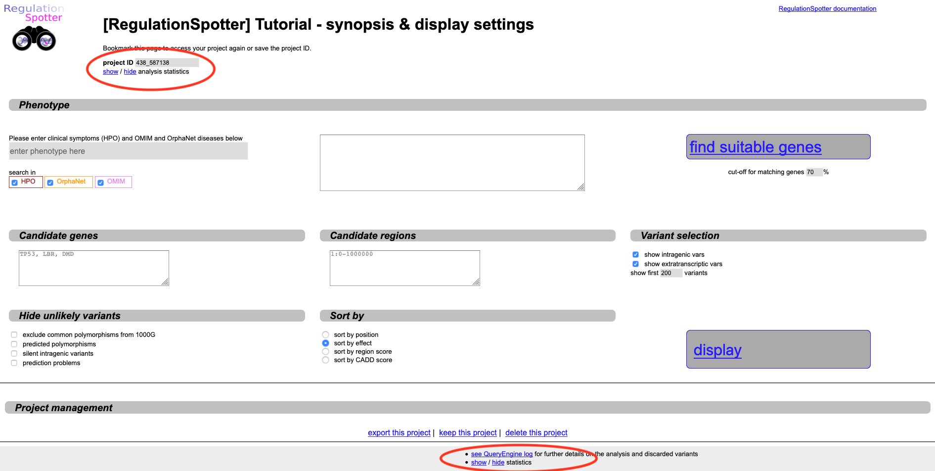 Screenshot of the landing page after analysing a vcf file with RegulationSpotter